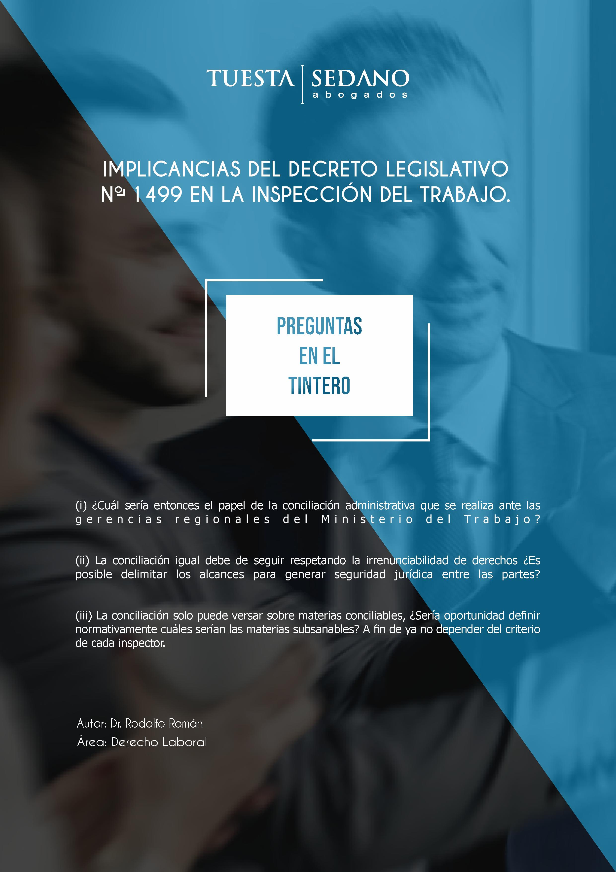 4-IMPLICANCIAS DEL DECRETO LEGISLATIVO No.1499 EN LA INSPECCIÓN DEL TRABAJO